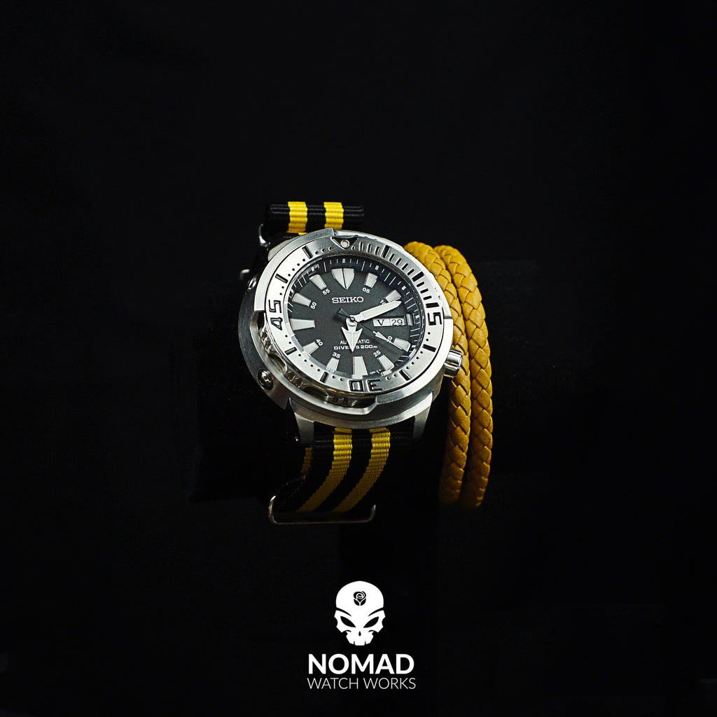 Oxford Leather Bracelet in Yellow (Size L) - Nomad Watch Works Malaysia