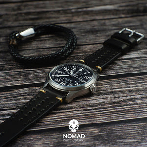 Oxford Leather Bracelet in Black (Size M) - Nomad Watch Works MY
