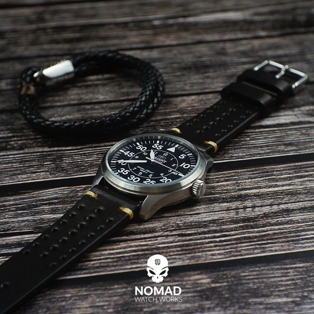 Oxford Leather Bracelet in Black (Size L) - Nomad Watch Works Malaysia