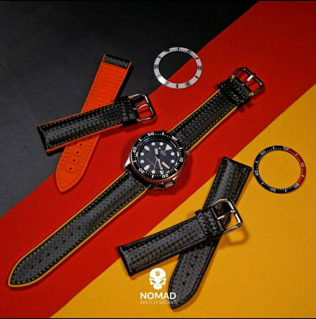 Performax Carbon Embossed Leather Hybrid Strap in Yellow Stitching (20mm) - Nomad Watch Works Malaysia