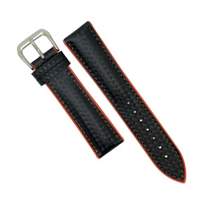 Performax Carbon Embossed Leather Hybrid Strap in Orange Stitching (20mm) - Nomad Watch Works Malaysia