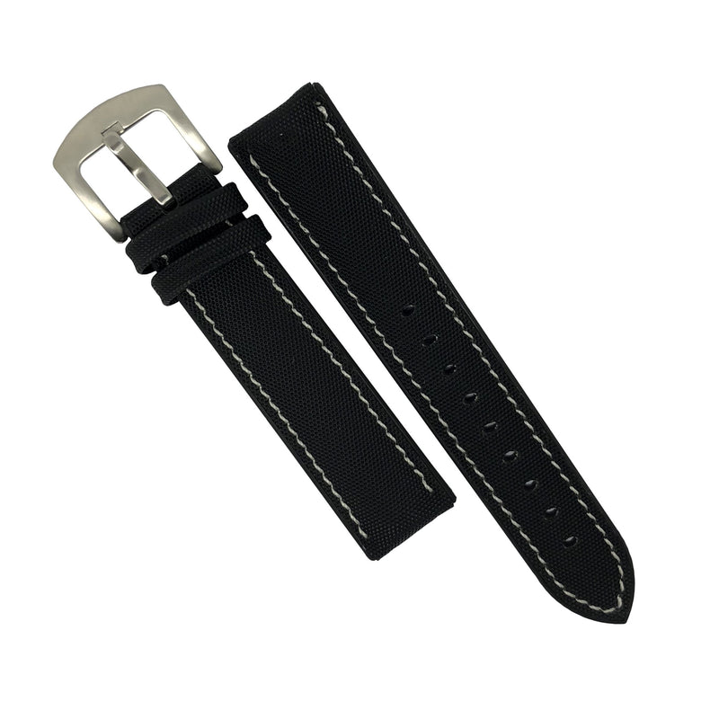 Performax N1 Hybrid Strap in Black with White Stitching (22mm) - Nomad Watch Works Malaysia