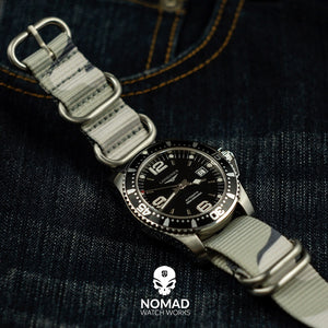Heavy Duty Zulu Strap in White Camo with Silver Buckle (22mm) - Nomad Watch Works Malaysia