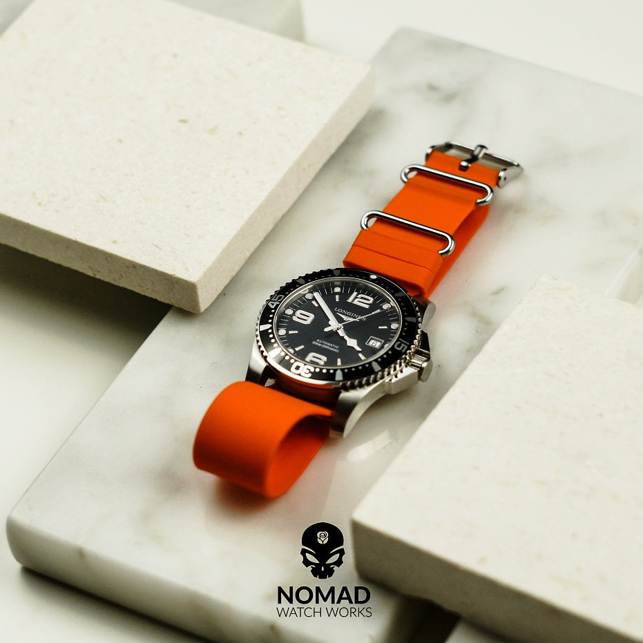 Rubber Nato Strap in Orange with Silver Buckle (20mm) - Nomad Watch Works Malaysia