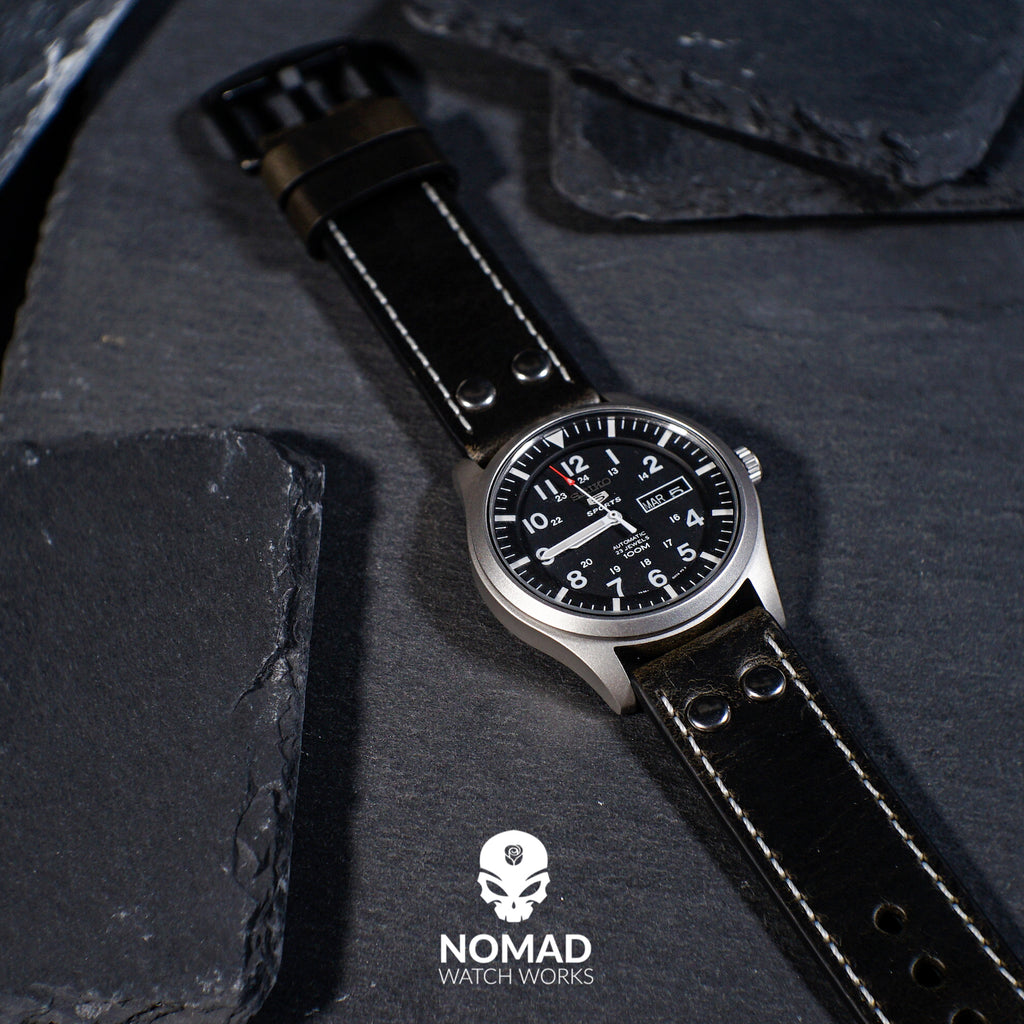 Premium Pilot Oil Waxed Leather Watch Strap in Black (22mm) - Nomad Watch Works Malaysia