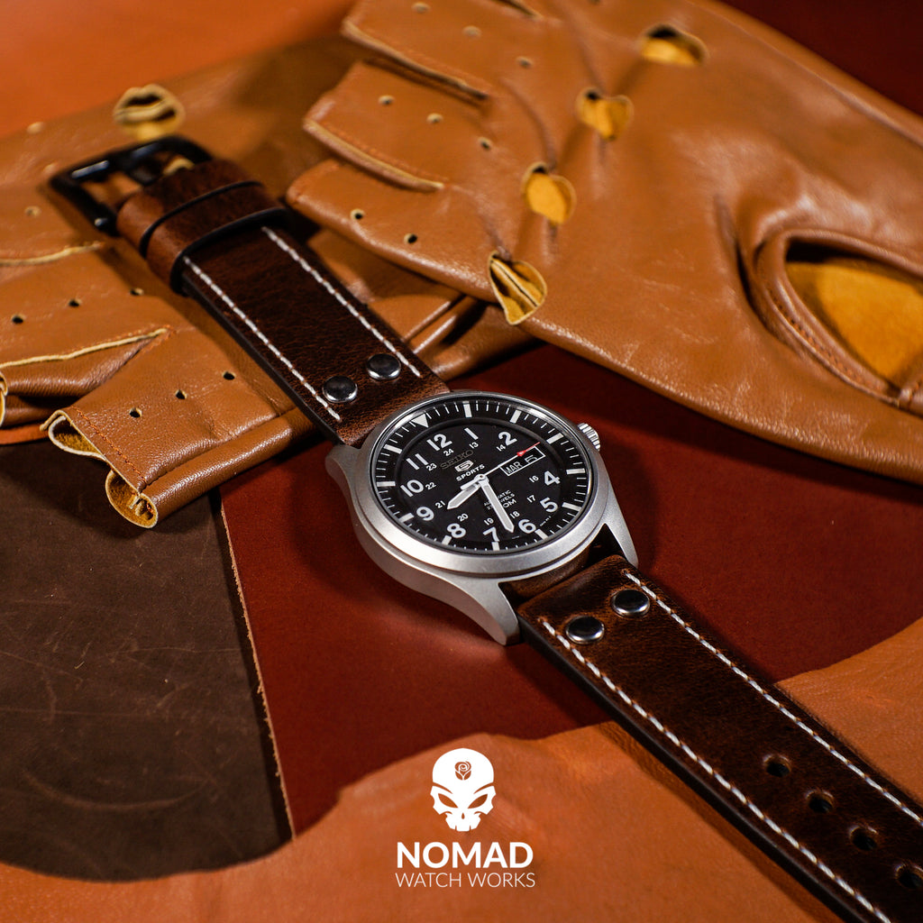 Premium Pilot Oil Waxed Leather Watch Strap in Brown (22mm) - Nomad Watch Works Malaysia