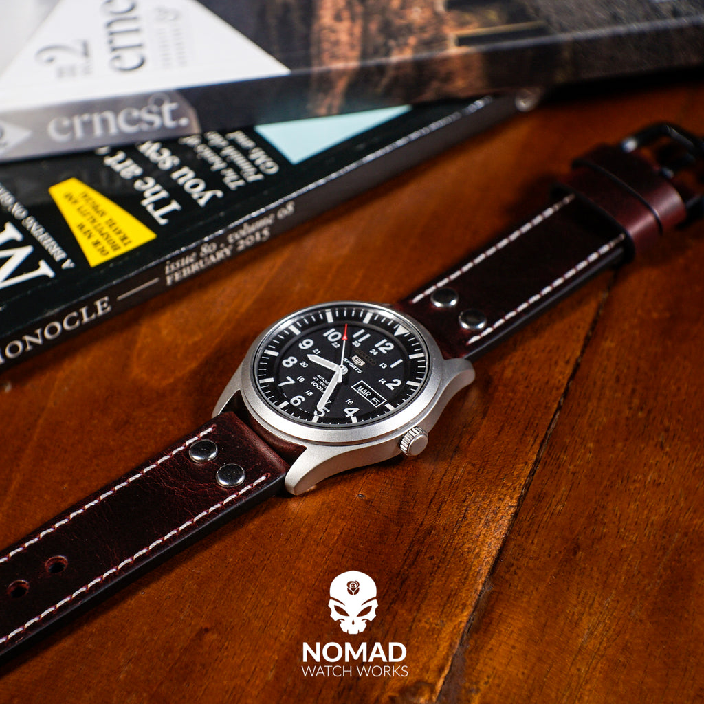 Premium Pilot Oil Waxed Leather Watch Strap in Maroon (22mm) - Nomad Watch Works Malaysia