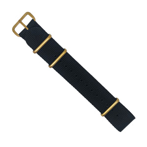 Premium Nato Strap in Black with Bronze Buckle (20mm) - Nomad Watch Works Malaysia