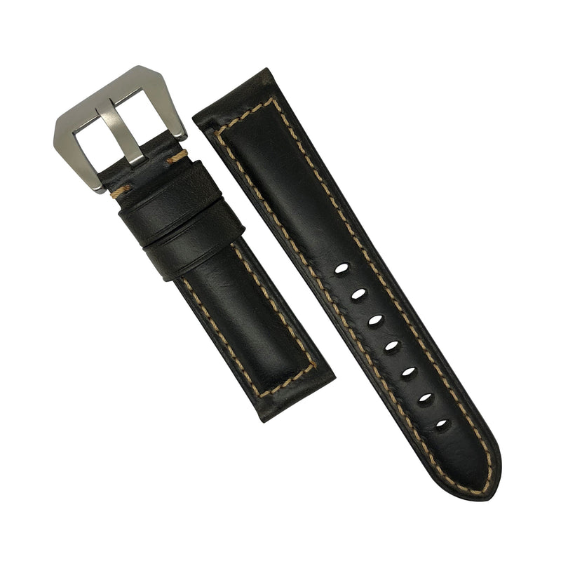 M2 Oil Waxed Leather Watch Strap in Black with Pre-V Silver Buckle (22mm) - Nomad Watch Works Malaysia
