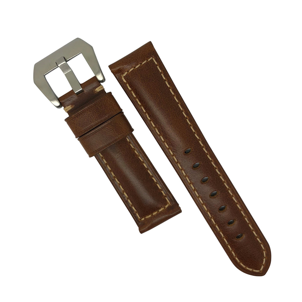 M2 Oil Waxed Leather Watch Strap in Tan with Pre-V Silver Buckle (22mm) - Nomad Watch Works Malaysia