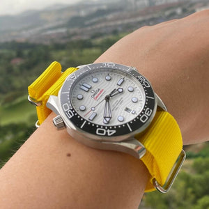 Premium Nato Strap in Yellow with PVD Black Buckle (20mm) - Nomad Watch Works Malaysia