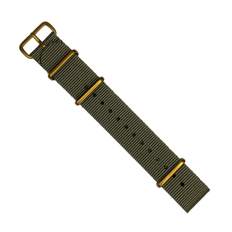 Premium Nato Strap in Grey with Bronze Buckle (22mm)
