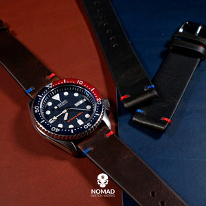 Premium Vintage Oil Waxed Leather Watch Strap in Black - Pepsi (20mm) - Nomad Watch Works Malaysia