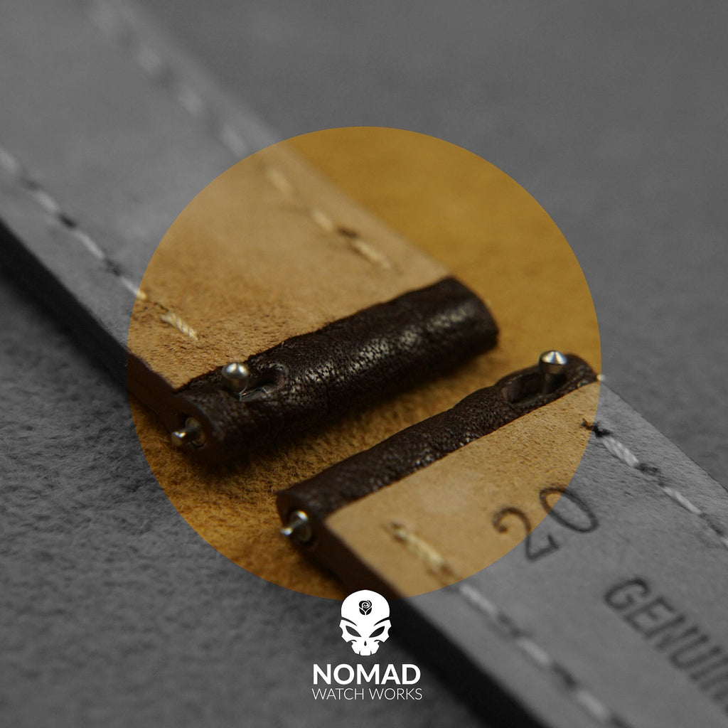 Quick Release Modern Leather Watch Strap in Brown (22mm) - Nomad Watch Works Malaysia
