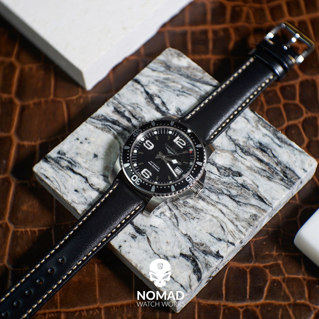 Quick Release Classic Leather Strap in Black (22mm) - Nomad Watch Works Malaysia