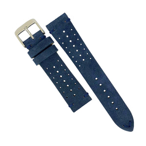 Premium Rally Suede Leather Watch Strap in Navy (22mm) - Nomad Watch Works Malaysia