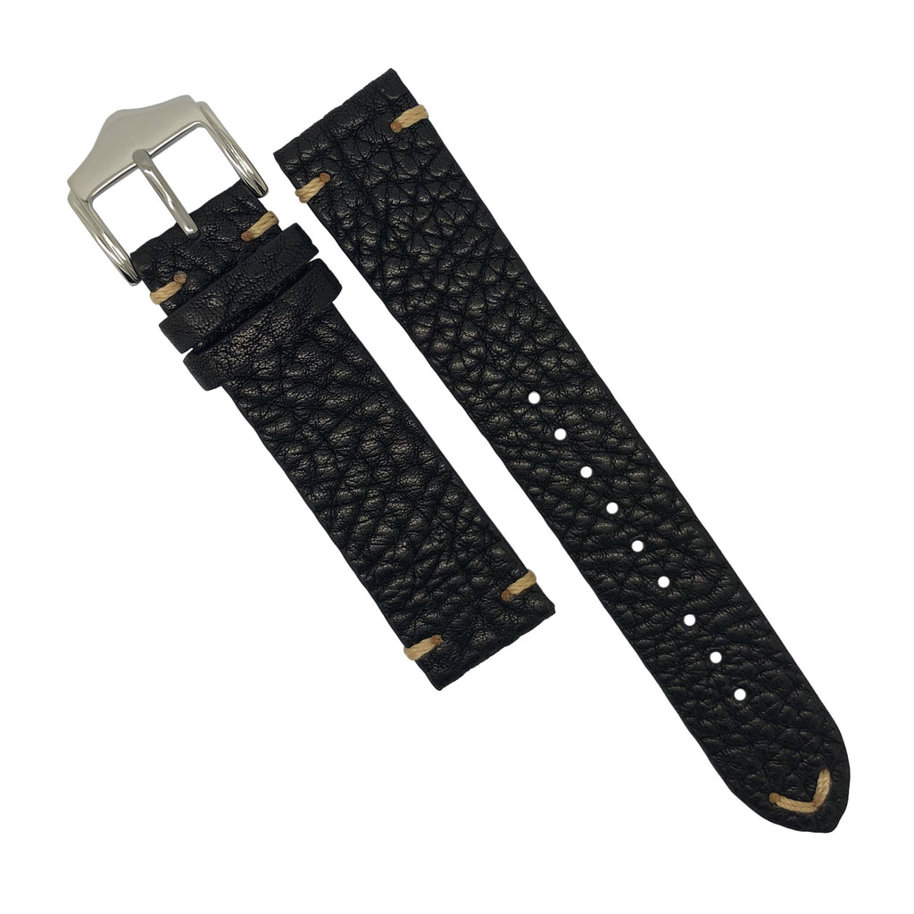 Premium Vintage Calf Leather Watch Strap in Distressed Black (20mm) - Nomad Watch Works Malaysia