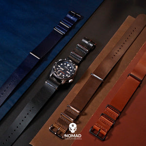 Premium Leather Nato Strap in Navy with Black Buckle (22mm) - Nomad Watch Works Malaysia