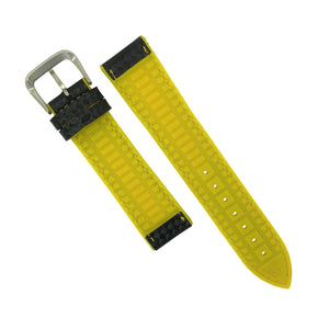 Performax Carbon Embossed Leather Hybrid Strap in Yellow Stitching (18mm) - Nomad Watch Works Malaysia