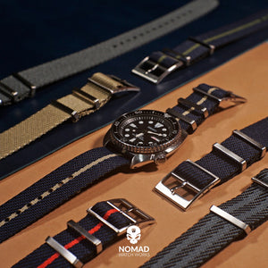 Lux Single Pass Strap in Navy Khaki with Silver Buckle (22mm) - Nomad Watch Works Malaysia