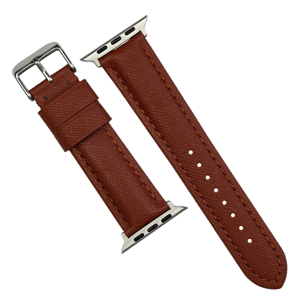 Apple Watch Premium Saffiano Leather Strap in Brown (42 & 44mm) - Nomad Watch Works MY