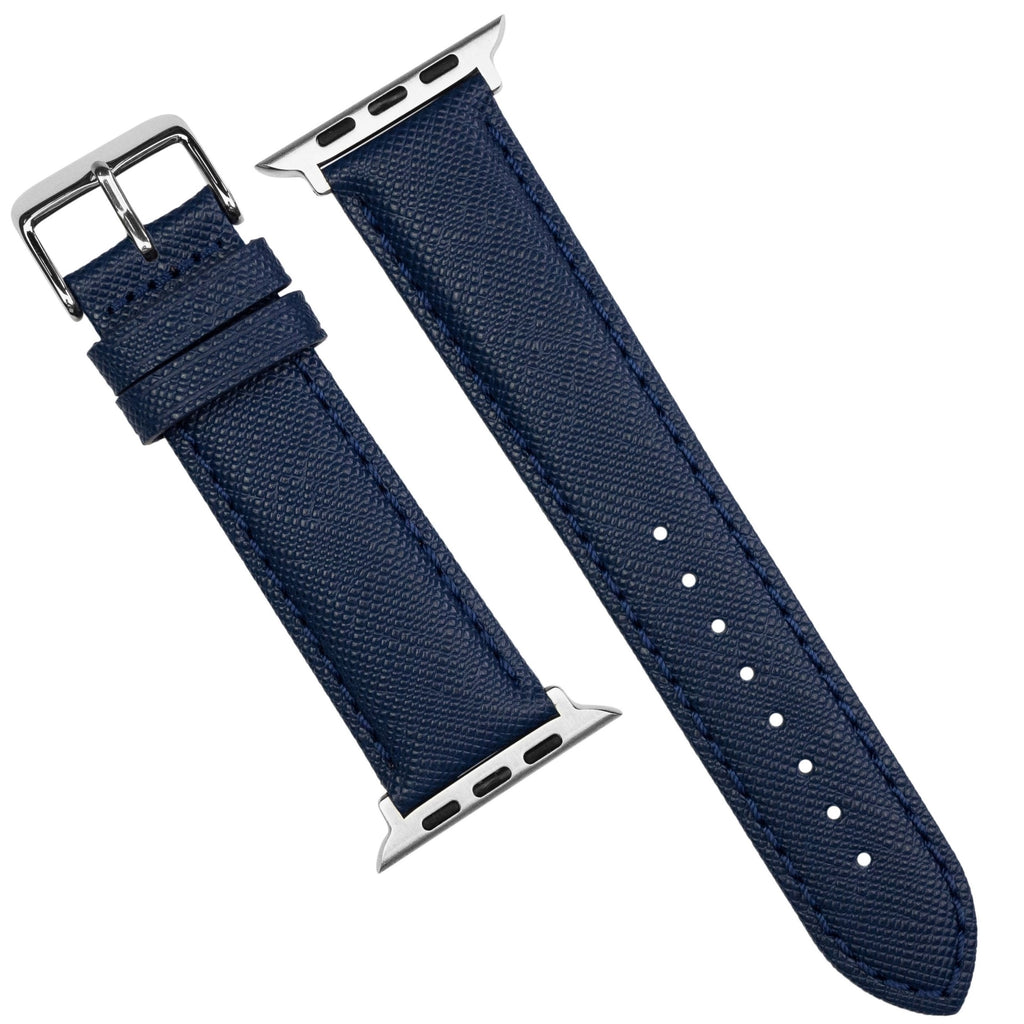 Apple Watch Premium Saffiano Leather Strap in Navy (38 & 40mm) - Nomad Watch Works MY