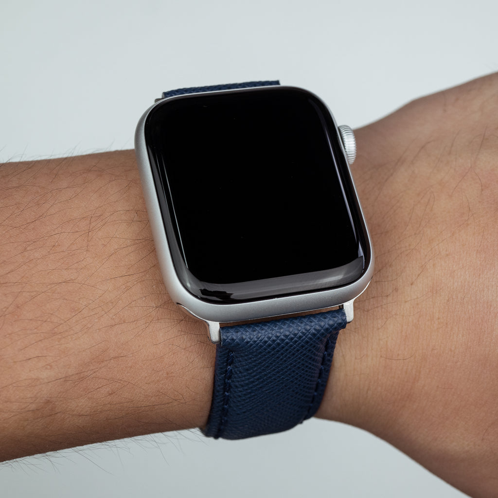 Apple Watch Premium Saffiano Leather Strap in Navy (42 & 44mm) - Nomad Watch Works MY