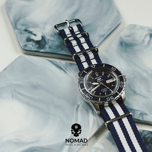 Premium Nato Strap in Navy White Small Stripes with Polished Silver Buckle (22mm) - Nomad Watch Works MY