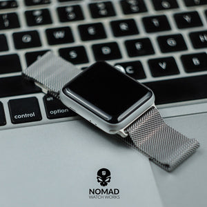 Apple Watch Milanese Mesh Strap in Silver (38 & 40mm) - Nomad Watch Works Malaysia