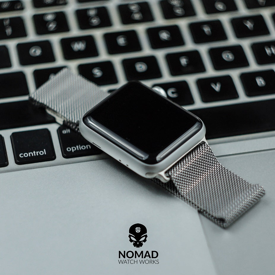 Apple Watch Milanese Mesh Strap in Silver (42 & 44mm) - Nomad Watch Works Malaysia