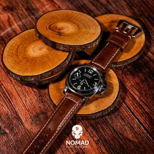 M2 Oil Waxed Leather Watch Strap in Tan with Pre-V Silver Buckle (24mm) - Nomad Watch Works MY