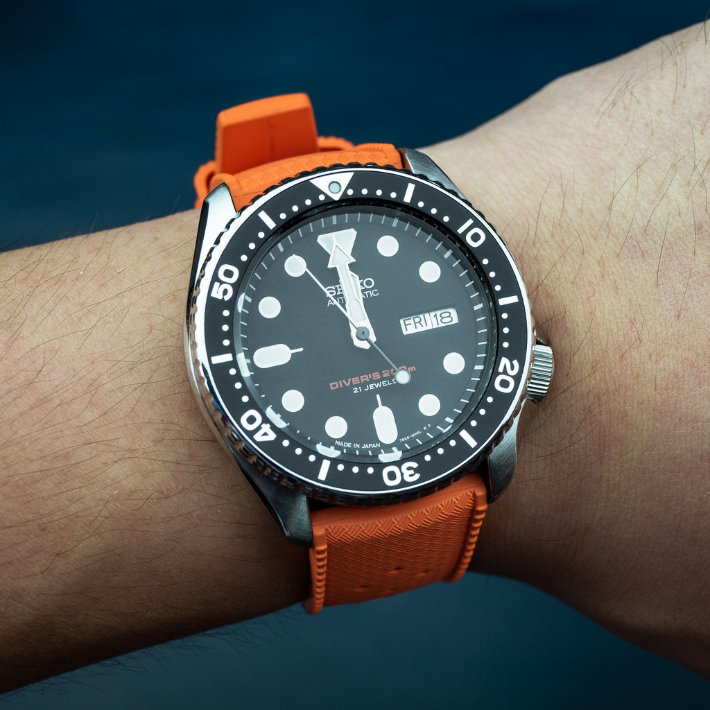 Tropic FKM Rubber Strap in Orange (22mm) - Nomad Watch Works Malaysia
