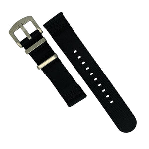 Two Piece Seat Belt Nato Strap in Black with Brushed Silver Buckle (22mm) - Nomad Watch Works Malaysia