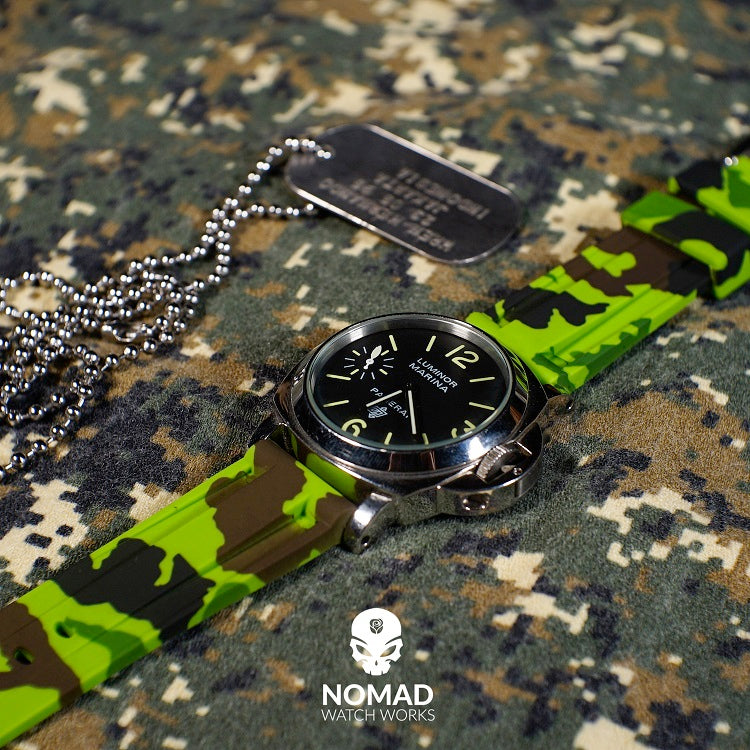 V3 Silicone Strap in Green Camo (22mm) - Nomad Watch Works Malaysia
