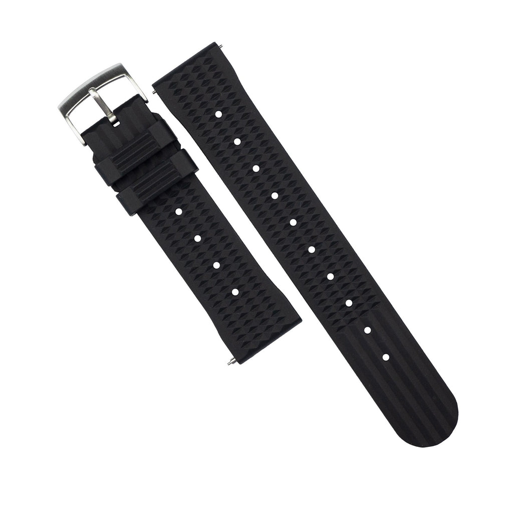 Waffle FKM Rubber Strap in Black (22mm) - Nomad Watch Works Malaysia