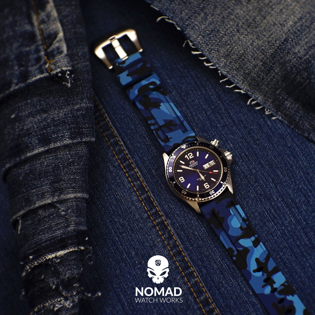 V3 Silicone Strap in Blue Camo (22mm) - Nomad Watch Works Malaysia