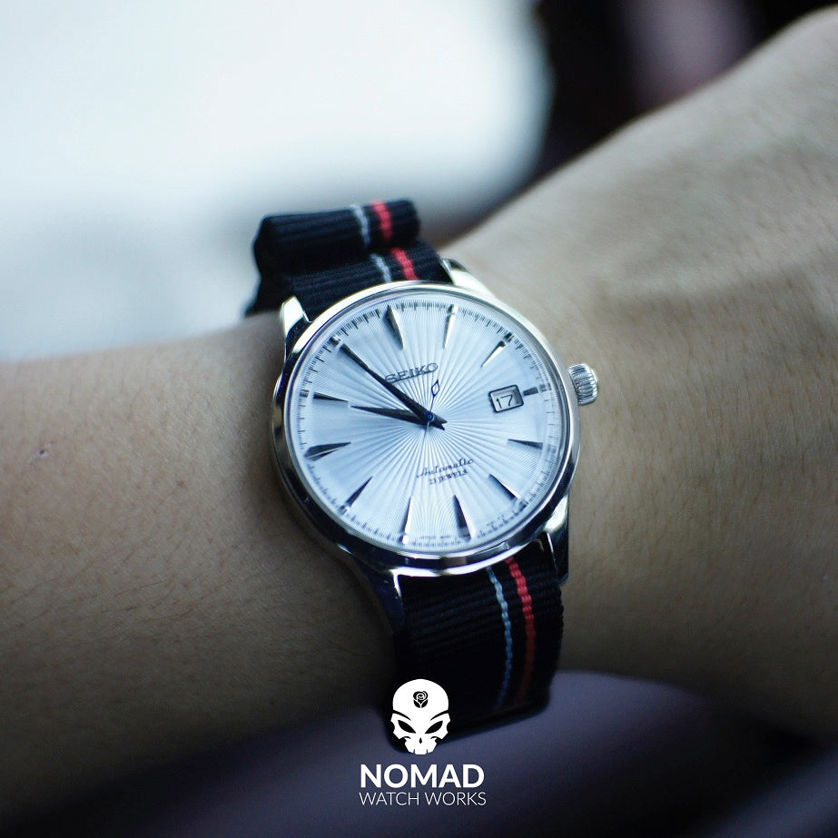 Premium Nato Strap in Black Blue Red Small Stripes with PVD Black Buckle (20mm) - Nomad Watch Works Malaysia