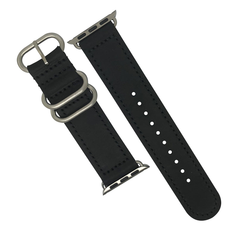 Apple Watch Leather Zulu Strap in Black with Silver Buckle (38 & 40mm) - Nomad Watch Works Malaysia