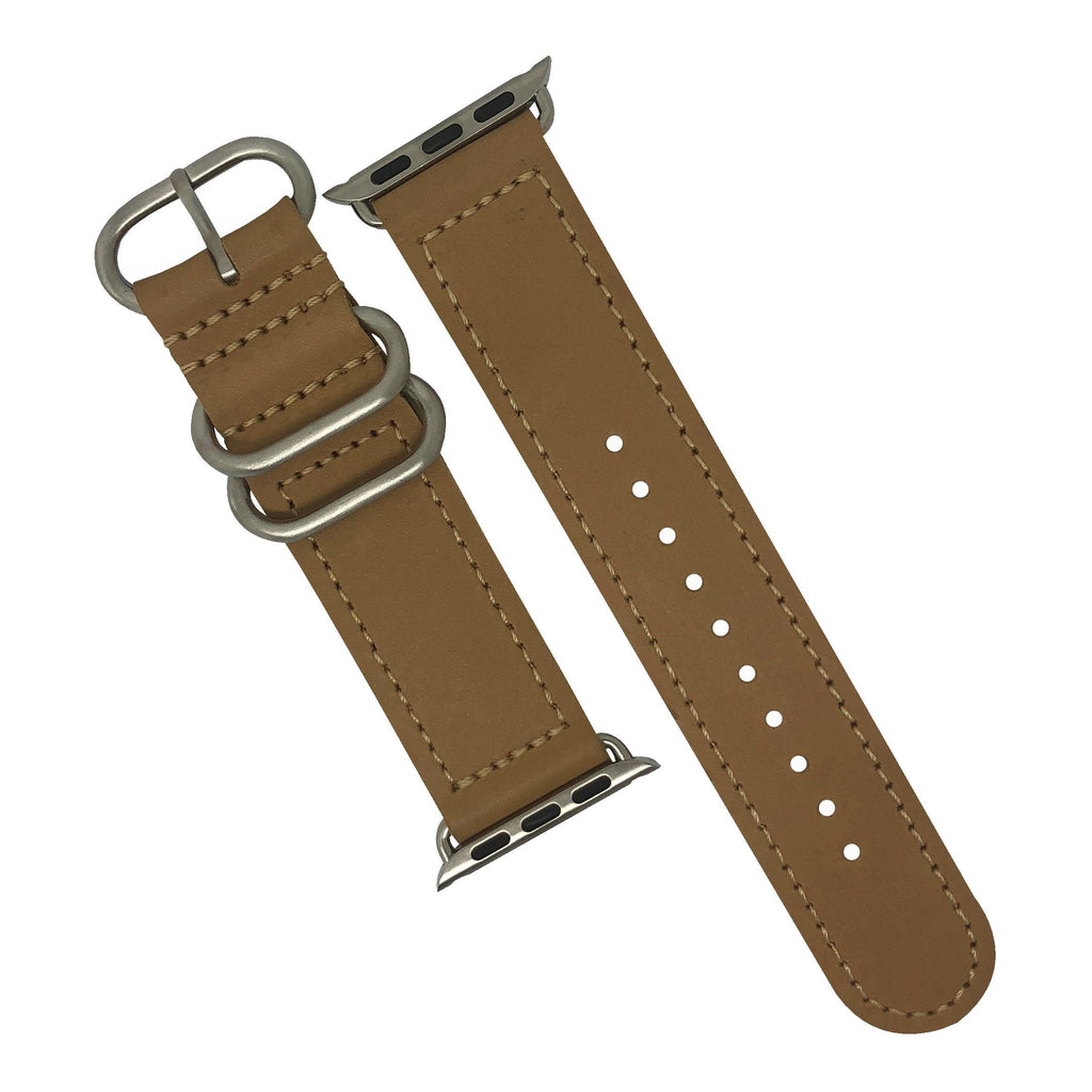 Apple Watch Leather Zulu Strap in Natural with Silver Buckle (38 & 40mm) - Nomad Watch Works Malaysia