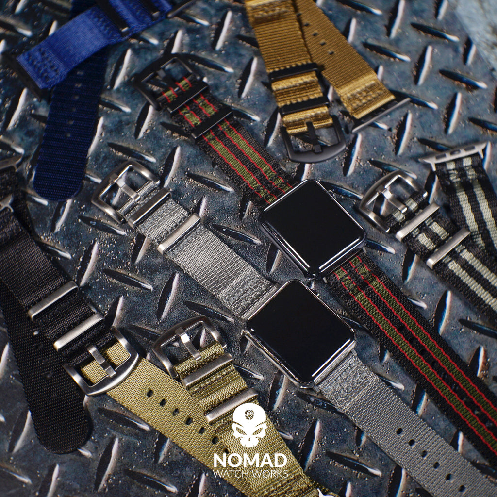 Apple Watch Seat Belt Nato Strap in Black Green Red (James Bond) with Silver Buckle (42 & 44mm) - Nomad Watch Works Malaysia