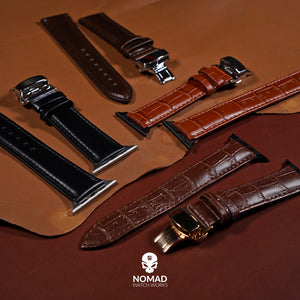 Apple Watch Genuine Croc Pattern Leather Watch Strap in Brown w/ Butterfly Clasp (38 & 40mm) - Nomad Watch Works Malaysia