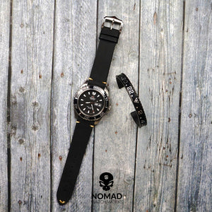 Premium Vintage Calf Leather Watch Strap in Black (22mm) - Nomad Watch Works Malaysia