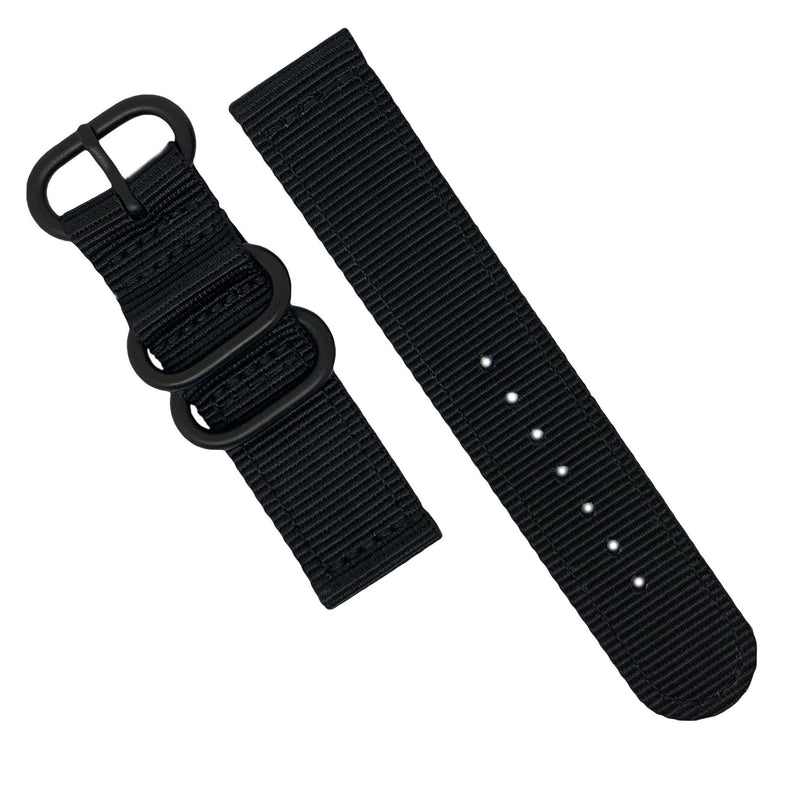 Two Piece Heavy Duty Zulu Strap in Black with PVD Black Buckle (22mm) - Nomad Watch Works MY