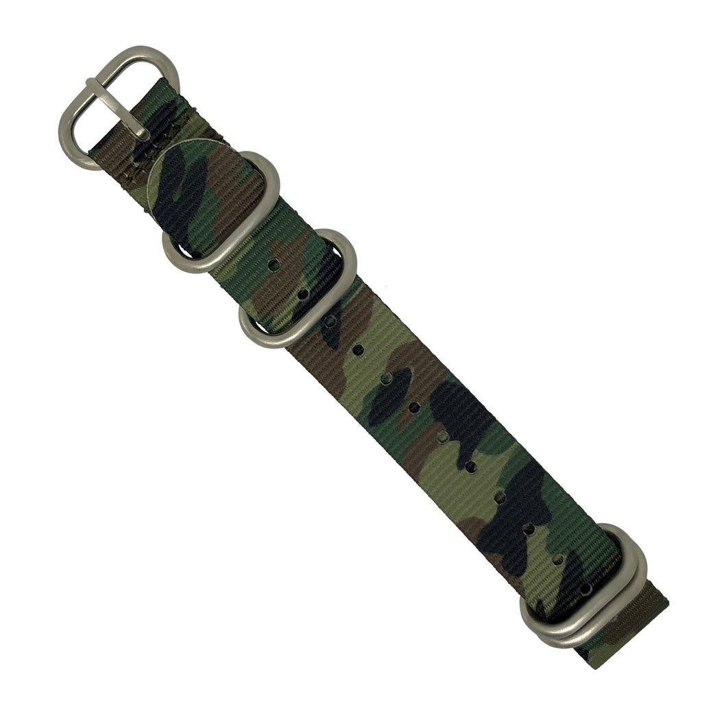 Heavy Duty Zulu Strap in Green Camo with Silver Buckle (22mm) - Nomad Watch Works Malaysia