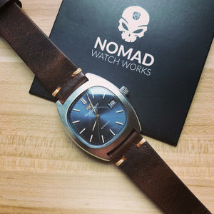 Premium Vintage Oil Waxed Leather Watch Strap in Brown (20mm) - Nomad Watch Works Malaysia