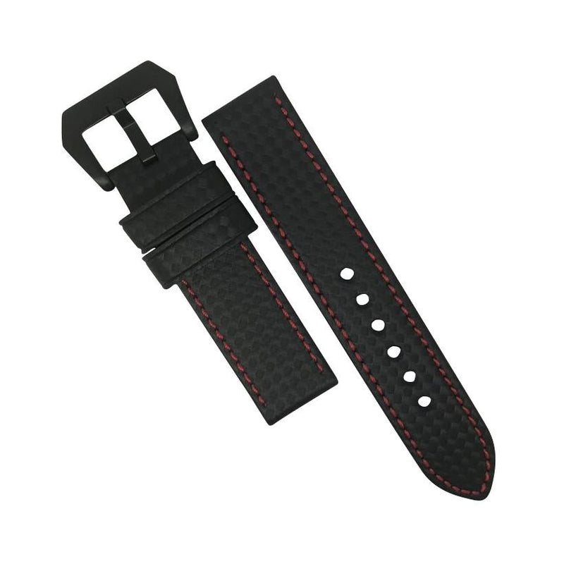 Premium Carbon Embossed Leather Watch Strap in Red Stitching with Pre-V PVD Black Buckle (24mm) - Nomad Watch Works MY