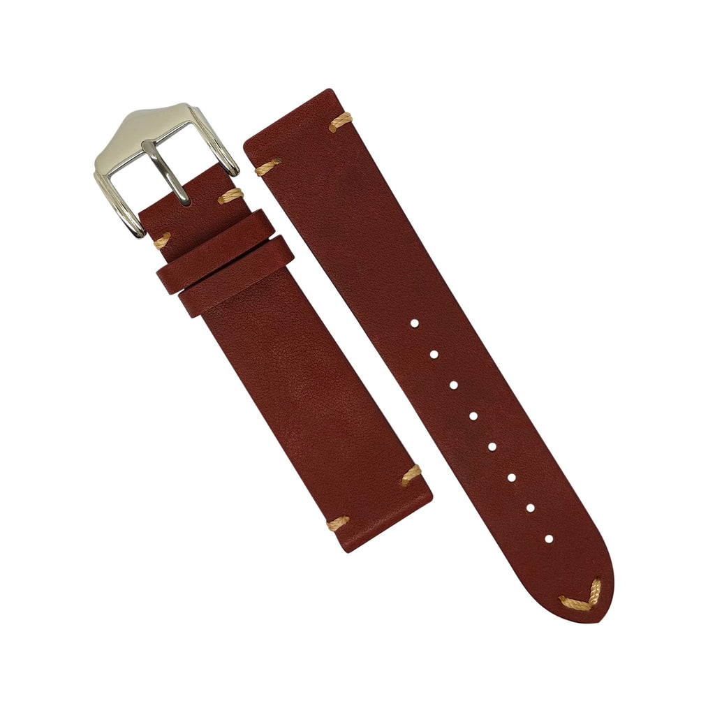 Premium Vintage Calf Leather Watch Strap in Maroon (22mm) - Nomad Watch Works Malaysia