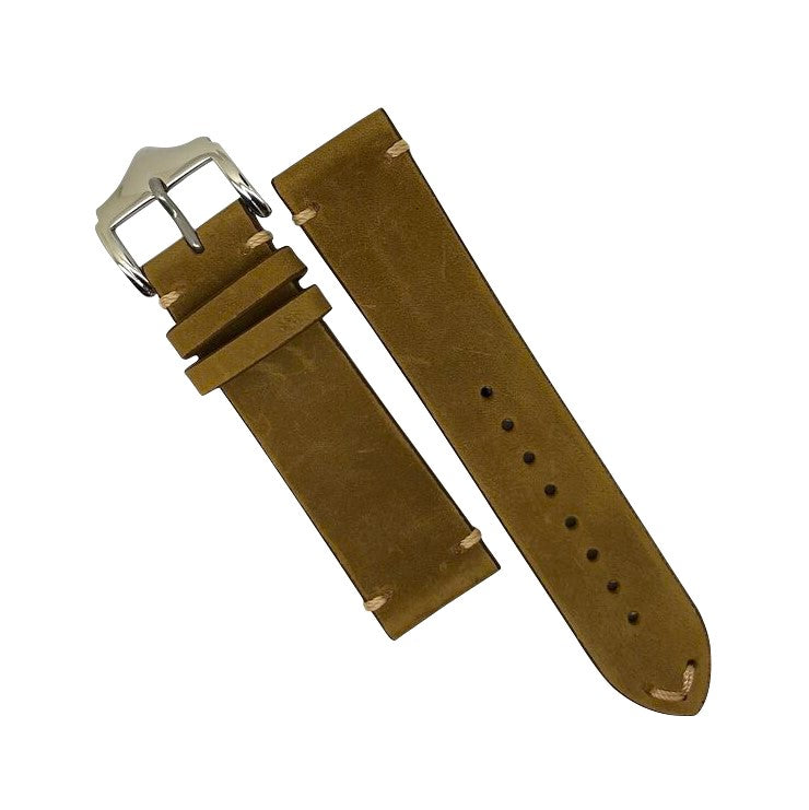 Premium Vintage Calf Leather Watch Strap in Tan (20mm) - Nomad Watch Works Malaysia