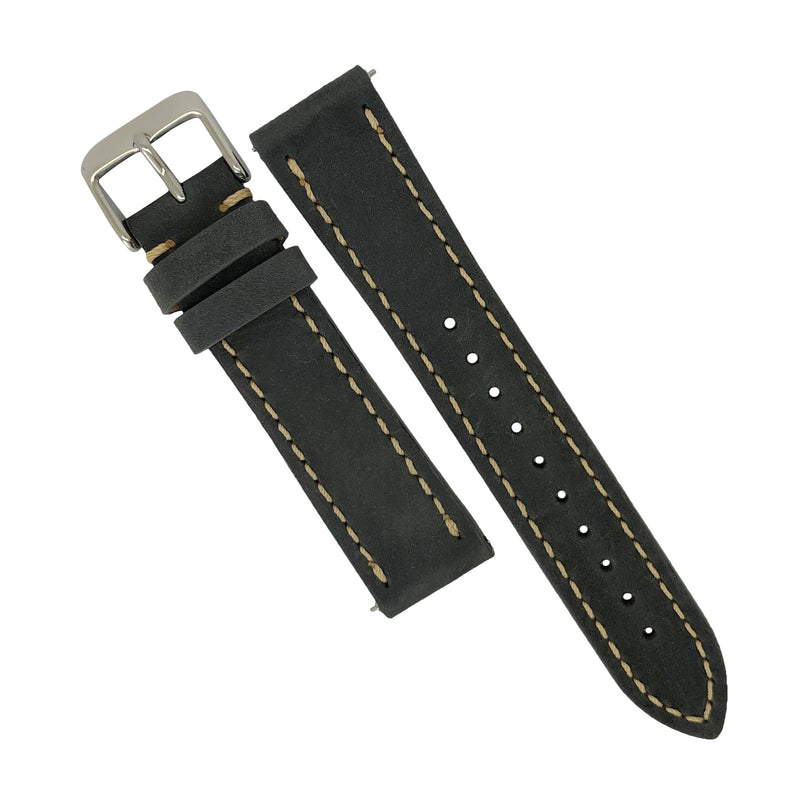 Quick Release Modern Leather Watch Strap in Grey (20mm) - Nomad Watch Works Malaysia