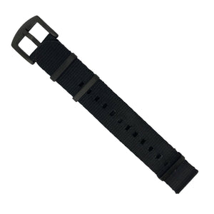 Seat Belt Nato Strap in Black with Black Buckle (22mm) - Nomad Watch Works Malaysia